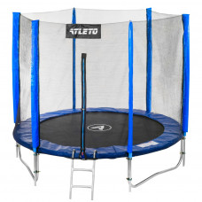 Батут Atleto 183 см с двойными ногами с сеткой + лестница синий