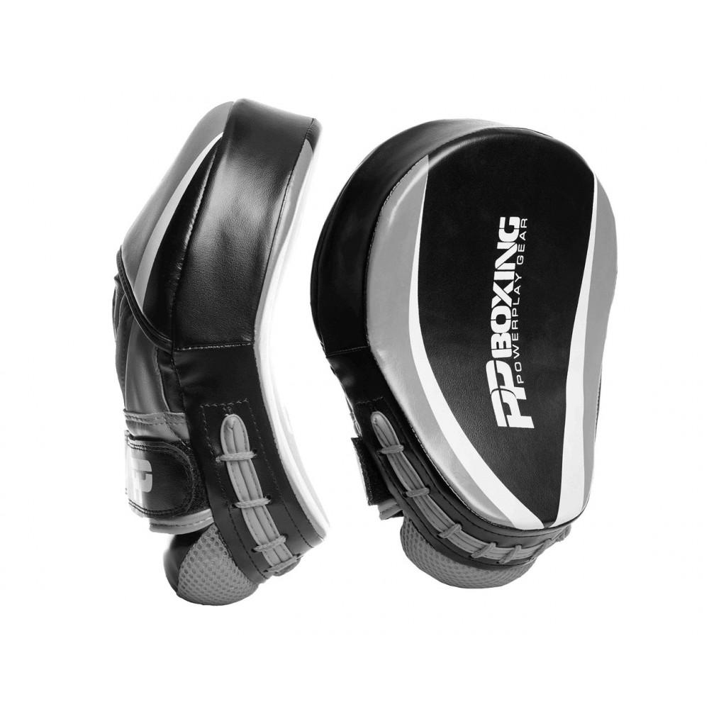 Боксерские Лапы PowerPlay 3050 Черно-Серый PU [пара]