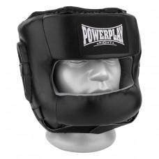 Боксерский шлем тренировочный PowerPlay 3067 с бампером PU + Amara Черный M