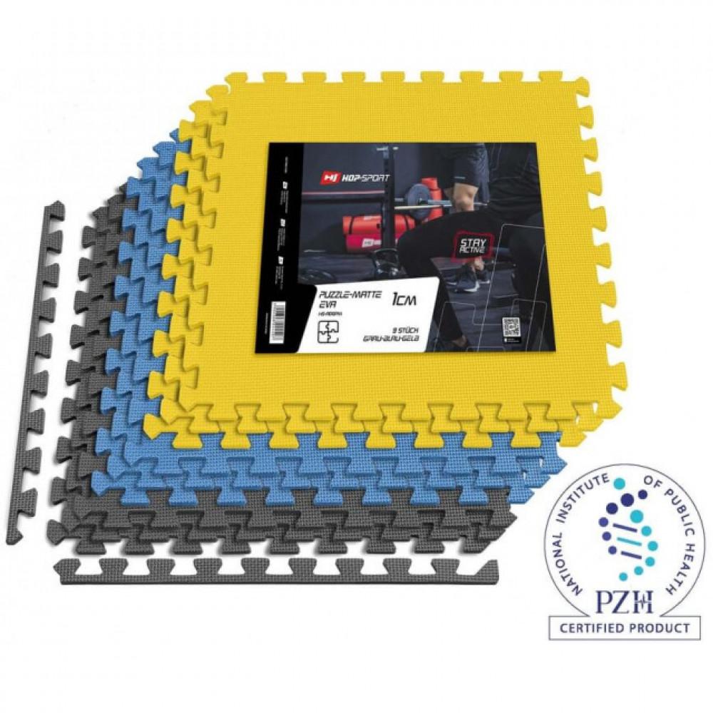 Мат-пазл EVA 1cm HS-A010PM - 9 частей серо-сине-желтый
