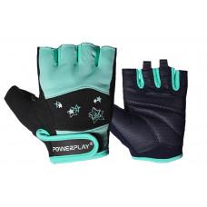 Фитнес перчатки PowerPlay 3492 женские Черно-Мясного Мятные XS