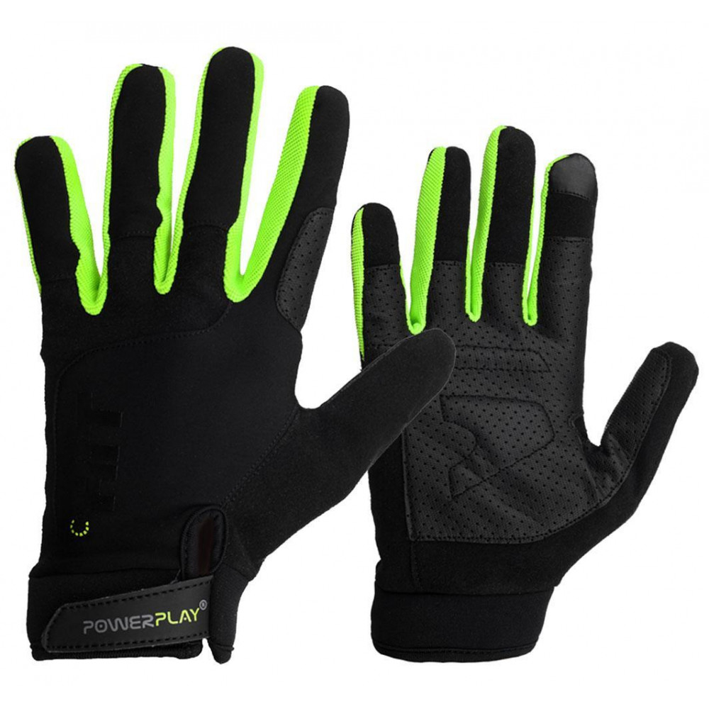 Перчатки для Кроссфит PowerPlay Hit Full Finger Черно-Зеленые M
