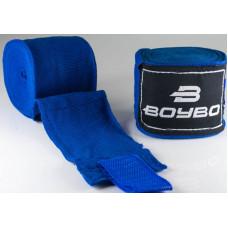 Бинты боксёрские BOYBO хлопок Синие 4,5 метра