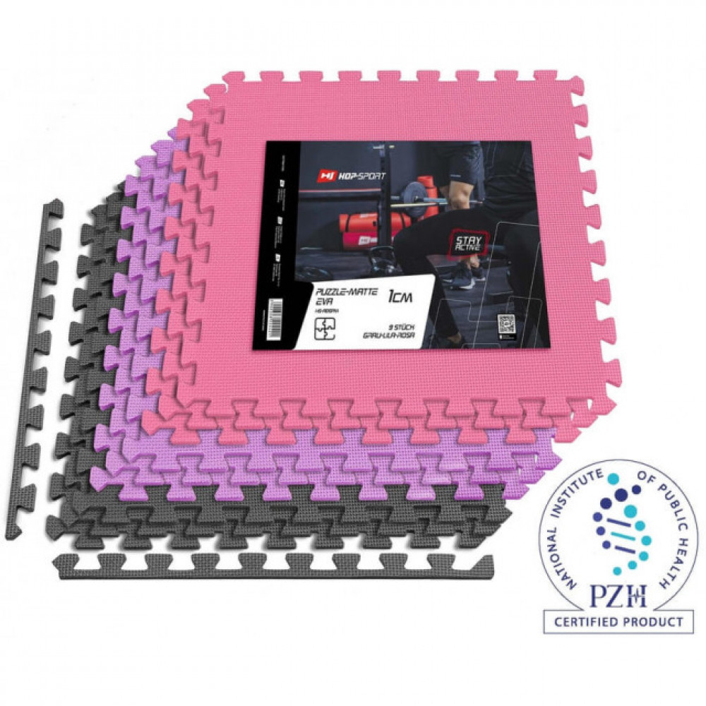 Мат-пазл EVA 1cm HS-A010PM - 9 частей серо-фиолетово-розовый