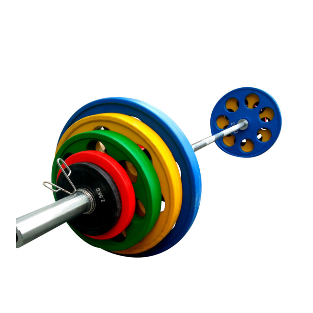 Штанга обрезиненная с цветными дисками RN Sport 105 кг