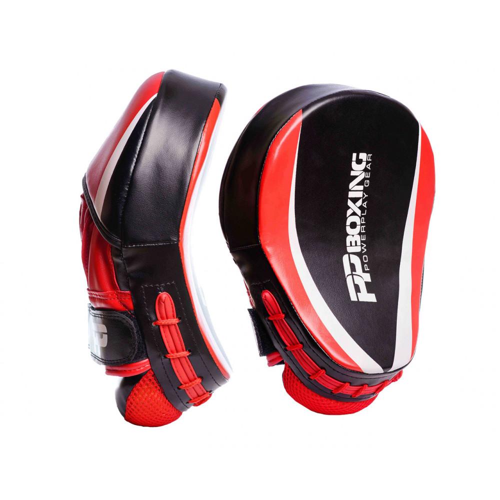 Боксерские Лапы PowerPlay 3050 Черно-красные PU [пара]