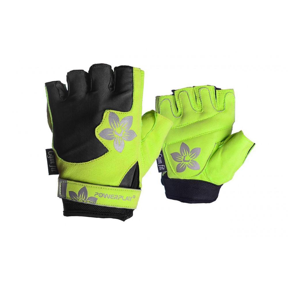 Перчатки для фитнеса PowerPlay 1733 С женские Черно-Зеленые XS