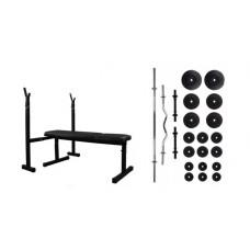 Скамья для жима + набор штанг 75 кг RN-Sport