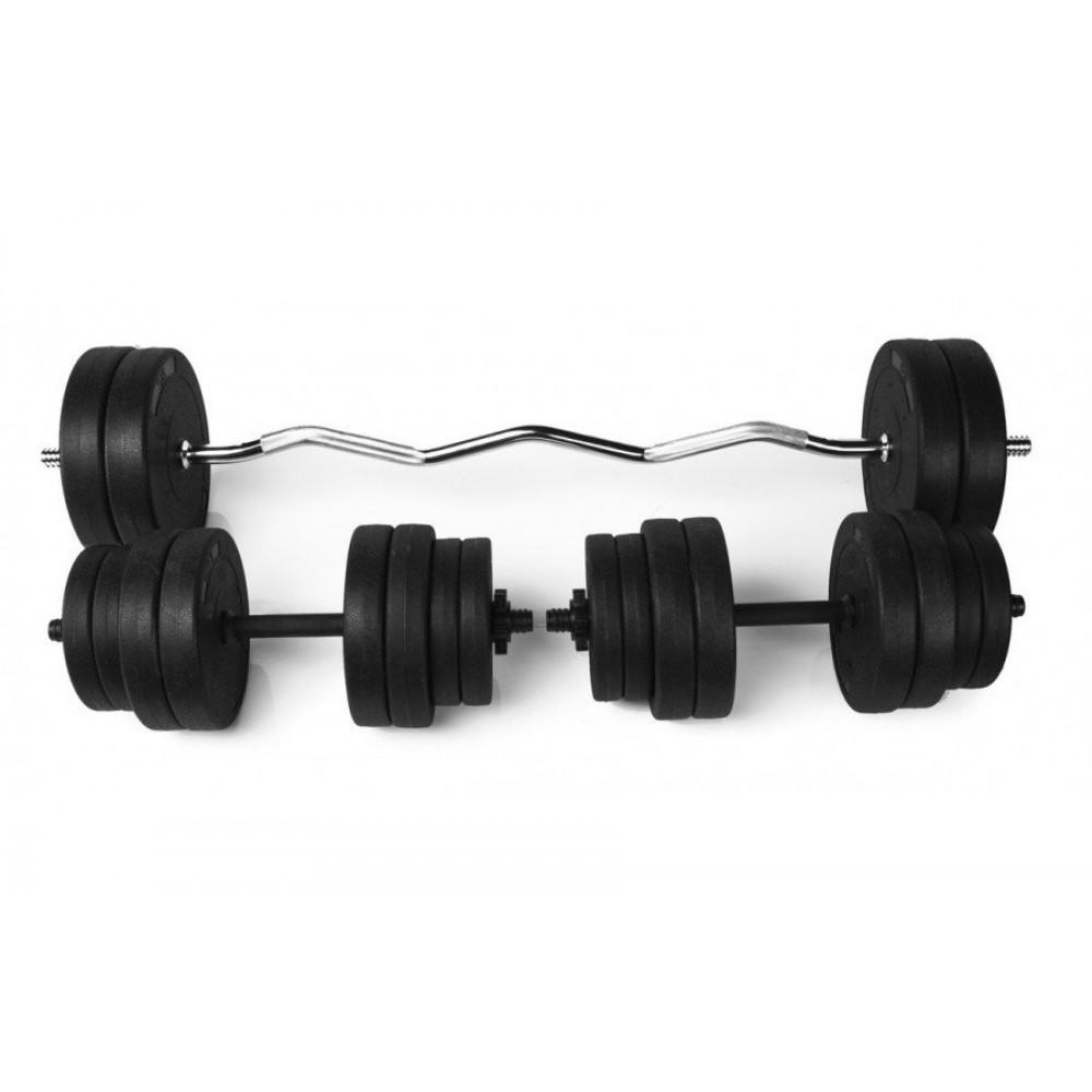 Набор RN Sport штанга 25 кг и гантели по 16 кг