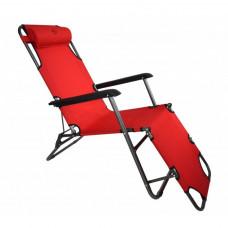 Шезлонг лежак Bonro 178 см красный