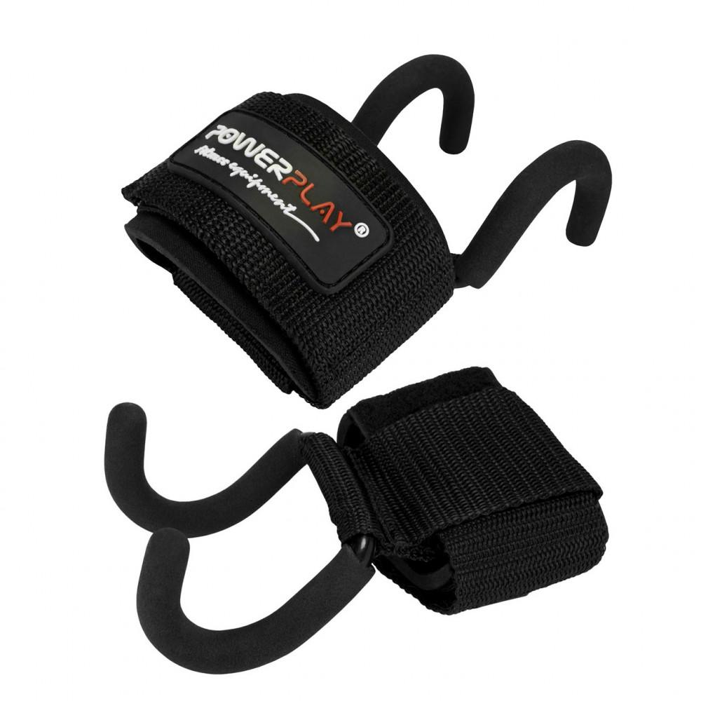 Крюки для тяги на запястье PowerPlay 7060 Черные