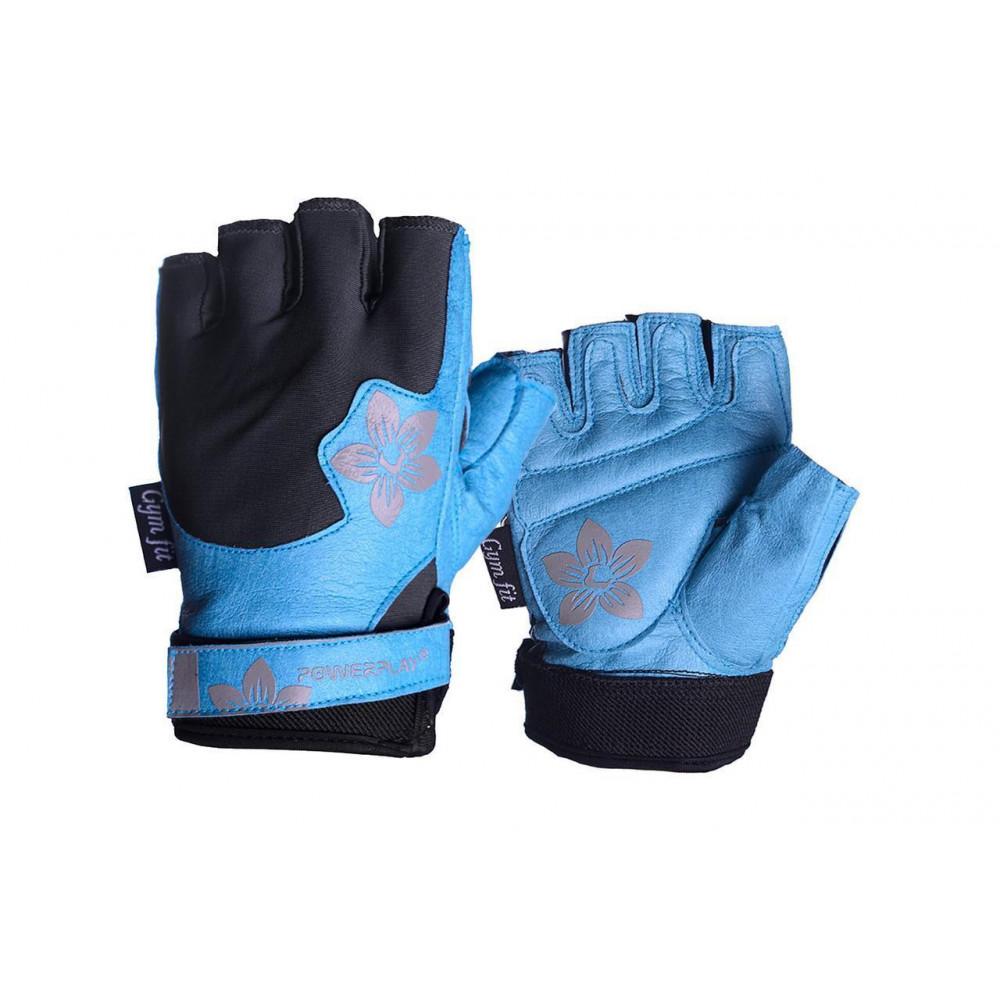 Перчатки для фитнеса PowerPlay 1733 женские Черно-Голубые XS