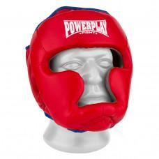 Боксерский шлем тренировочный PowerPlay 3068 PU + Amara Красно-Синий XS