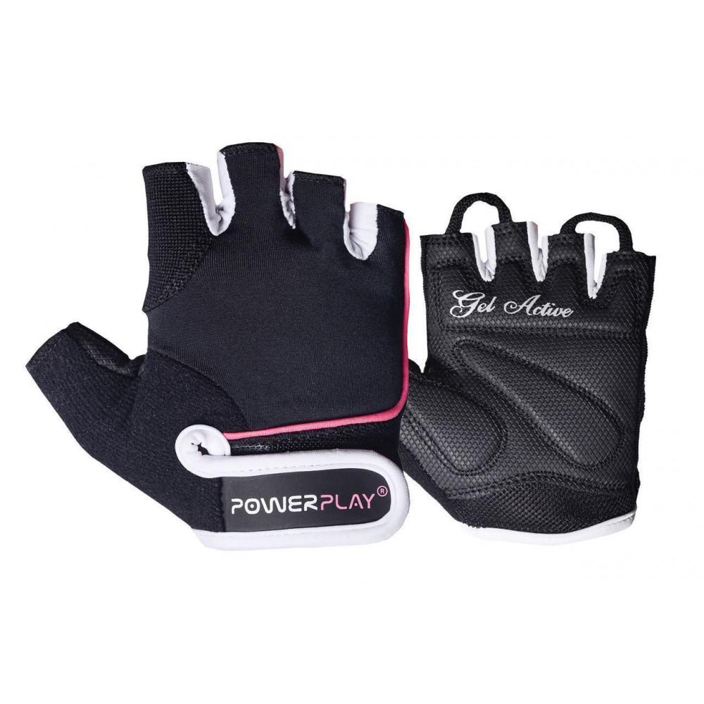 Перчатки для фитнеса PowerPlay 1750 женские Черно-Розовый M