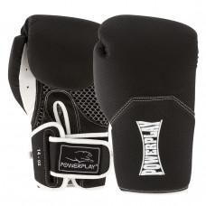 Боксерские Перчатки PowerPlay 3011 Черно-Белые Карбон 14 Унций