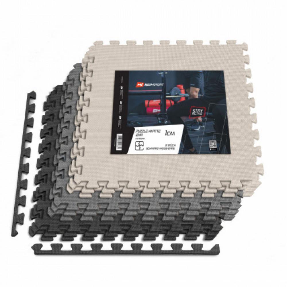 Мат-пазл EVA 1cm HS-A010PM - 9 частей черно-бело-серый