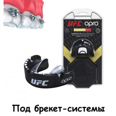 Капа OPRO Gold Braces UFC Hologram Black Metal / Silver (art.002262001)