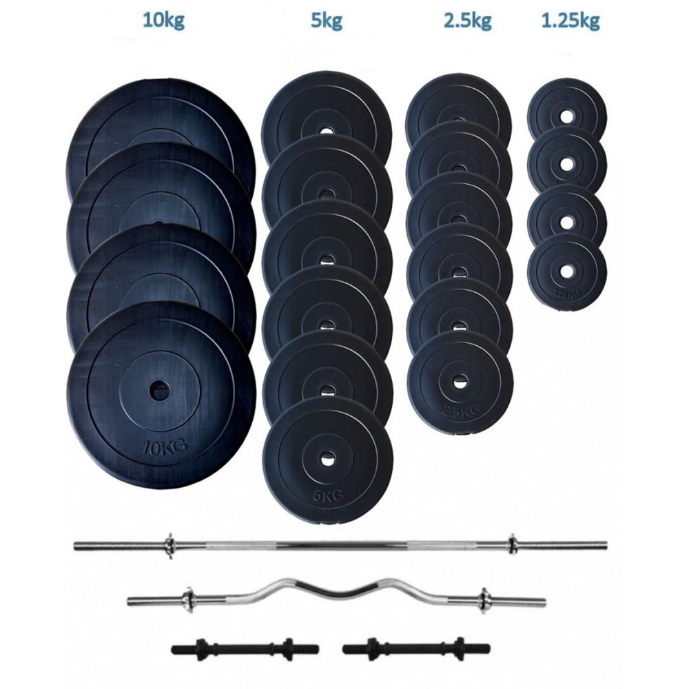 Набор штанга и гантели WCG в пластике 107 кг