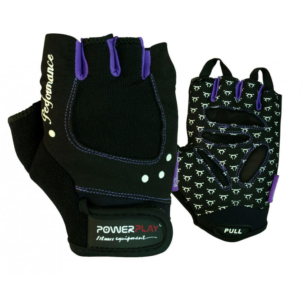 Перчатки для фитнеса PowerPlay 1751 женские Черно-фиолетовые XS