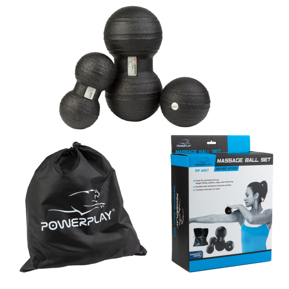 Набор массажных мячик PowerPlay 4007 Черные (3 шт)