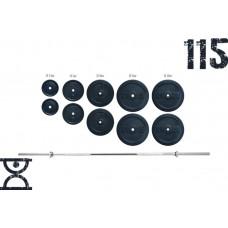 Набор RN Sport штанга 115 кг и гантели по 16 кг