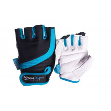 Перчатки для фитнеса PowerPlay 2311 женские Черно-Голубые M