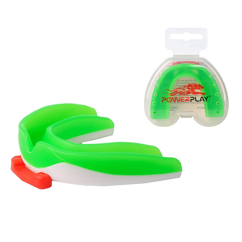 Капа боксерская PowerPlay 3316 SR Зелено-Белая