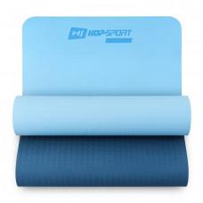 Мат для фитнеса TPE 0,6 см HS-T006GM сине-голубой