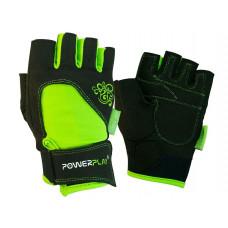 Перчатки для фитнеса PowerPlay 1728 женские Черно-Зеленые XS
