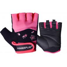 Перчатки для фитнеса PowerPlay 3492 женские Черно-Розовые S
