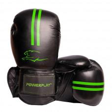 Боксерские Перчатки PowerPlay 3016 Черно-Зеленые 14 Унций