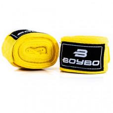 Бинты боксёрские BOYBO хлопок желтые 3,5 метра