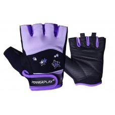 Перчатки для фитнеса PowerPlay 3492 женские Черно-фиолетовые XS