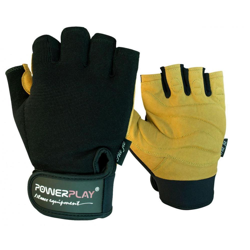 Перчатки для фитнеса PowerPlay 1574 Черно-Коричневые S