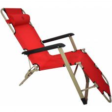 Шезлонг лежак Bonro 180 см красный