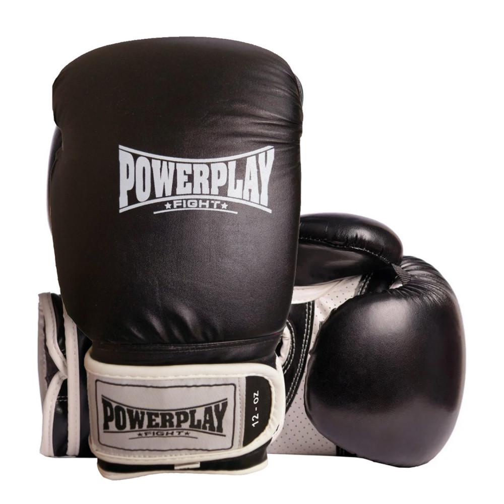 Боксерские Перчатки PowerPlay 3019 Черные 12 Унций