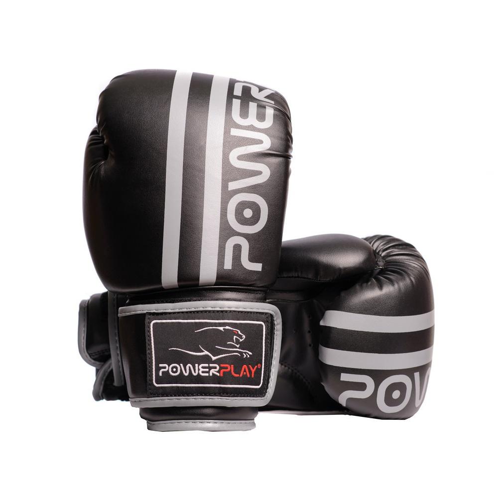 Боксерские Перчатки PowerPlay 3010 Черно-Серые 12 Унций