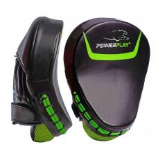 Боксерские Лапы PowerPlay 3041 Черно-Зеленые PU [пара]