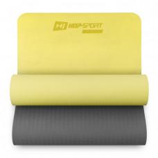 Мат для фитнеса TPE 0,6 см HS-T006GM желто-серый