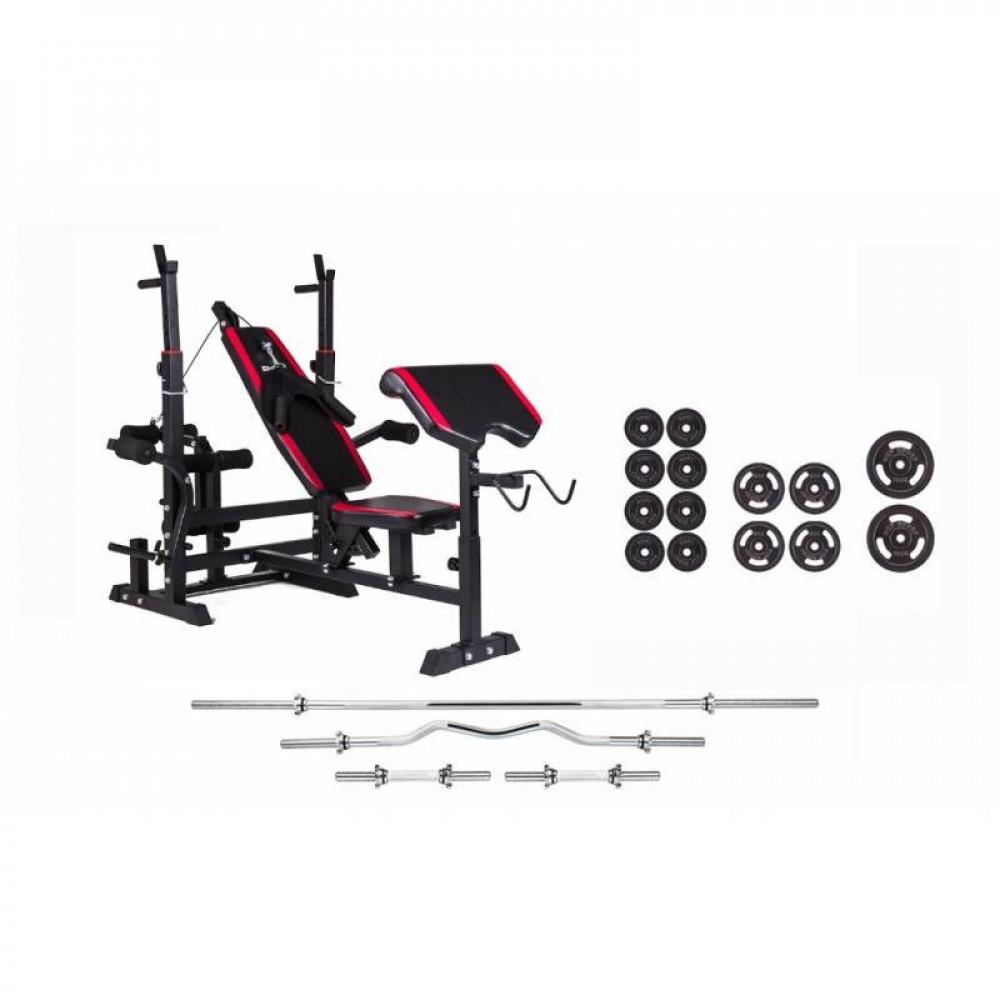 Набор Strong 83 кг. железные блины, грифы + скамья HS-1075 с тягой