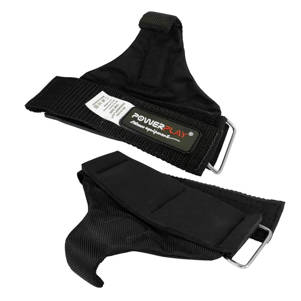 Крюки для тяги на запястье PowerPlay 7053 Черные
