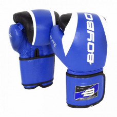 Боксерские перчатки BoyBo Elite кожа 10 OZ син. SF3-34-10