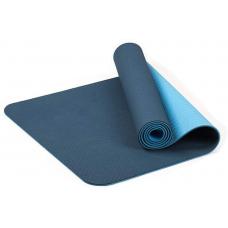 Коврик для фитнеса и йоги TPE+TC 6мм двухслойный BL