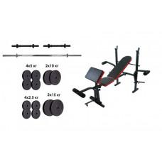 Скамья для жима RN Sport + набор силовой на 90 кг